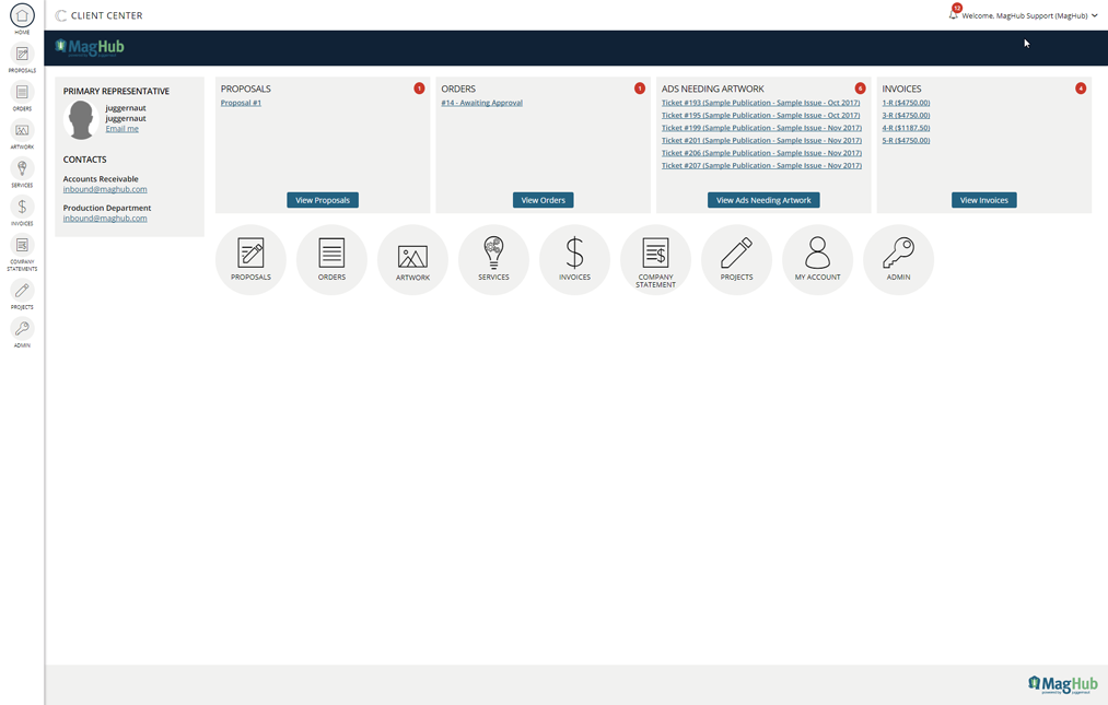 Client Center Home Page 2018 Redesign Screenshot